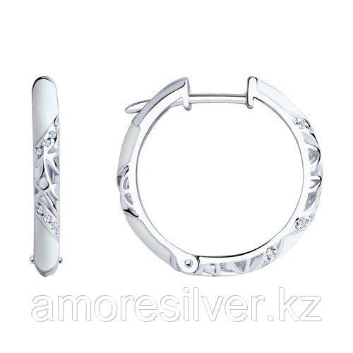 Серьги-кольца SOKOLOV серебро с родием, эмаль фианит  94021241