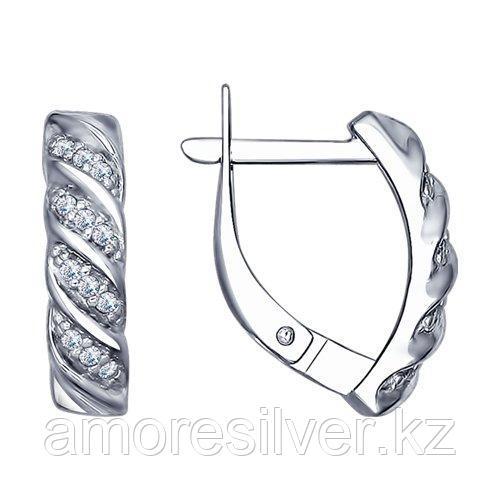 Серьги SOKOLOV серебро с родием, фианит  94022464