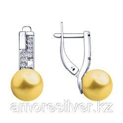 Серьги SOKOLOV серебро с родием, жемчуг swarovski синт.  фианит  94023019