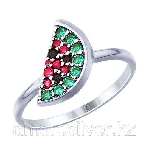 Кольцо SOKOLOV серебро с родием, фианит  корунд синт. 94012753 размеры - 19 19,5
