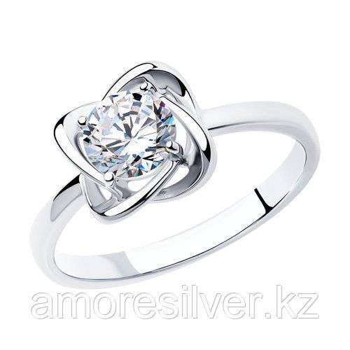 Кольцо SOKOLOV серебро с родием, фианит  94012694 размеры - 18 18,5 19 19,5 20,5 21