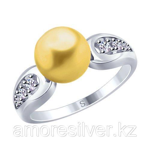 Кольцо SOKOLOV серебро с родием, жемчуг swarovski синт.  фианит  94012679 размеры - 17 19,5