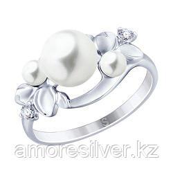 Кольцо SOKOLOV серебро с родием, фианит  жемчуг синт. 94012795 размеры - 17,5