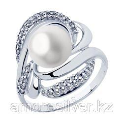 Кольцо SOKOLOV серебро с родием, жемчуг пресноводный фианит  94012883 размеры - 18,5