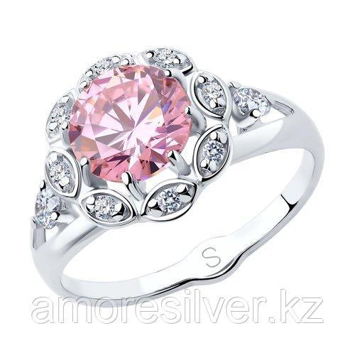 Кольцо SOKOLOV серебро с родием, фианит  94012759 размеры - 16,5 17 18 19 19,5