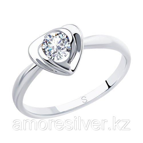 Кольцо SOKOLOV серебро с родием, фианит  94012884 размеры - 19 19,5