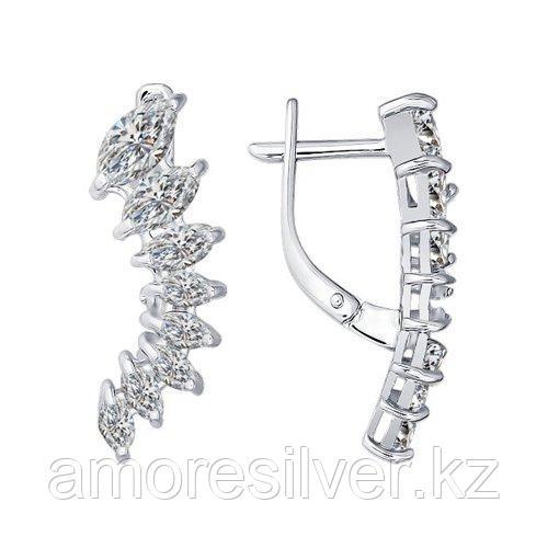 Серьги SOKOLOV серебро с родием, фианит  94021352