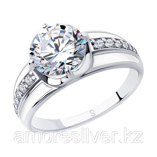 Кольцо SOKOLOV серебро с родием, эмаль фианит  94012974 размеры - 17,5