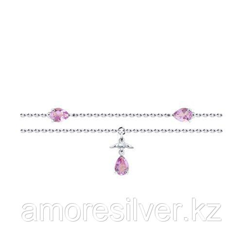 Браслет SOKOLOV серебро с родием, аметист 92050127 размеры - 18