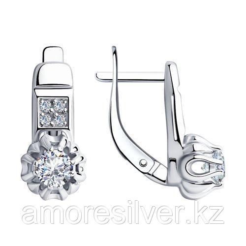 Серьги SOKOLOV серебро с родием, фианит, фантазия 94-120-00421-1