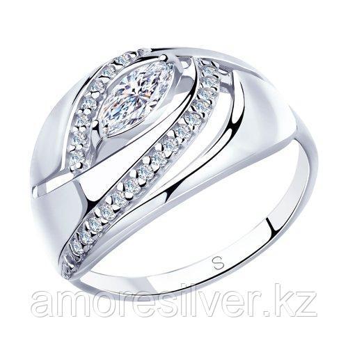 Кольцо SOKOLOV серебро с родием, фианит  94012949 размеры - 16,5 17,5 18,5