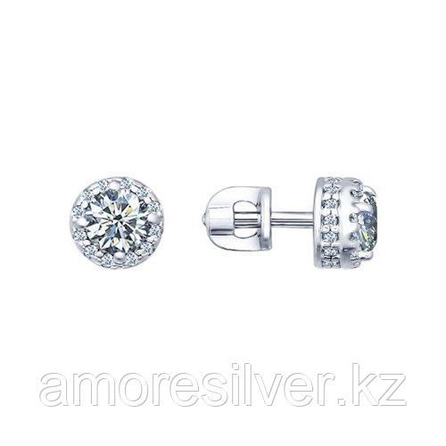 Серьги-пусеты SOKOLOV серебро с родием, фианит  94021724