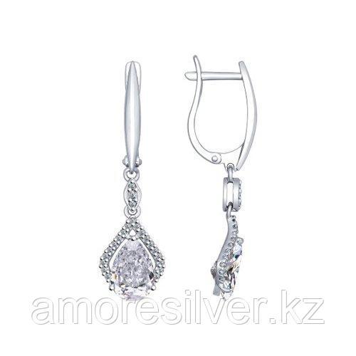 Серьги длинные SOKOLOV серебро с родием, фианит  94022388