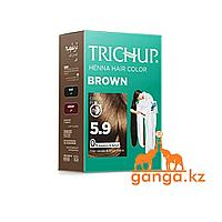 Краска Тричап на основе хны Коричневая (Henna hair color TRICHUP), 6 пакетиков по 10 грамм