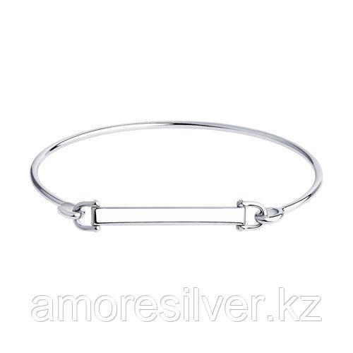 Браслет SOKOLOV серебро с родием, без вставок, жесткий браслет 94050624 размеры - 17 18