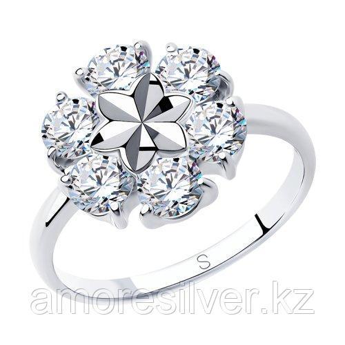 Кольцо SOKOLOV серебро с родием, фианит  94012979 размеры - 18