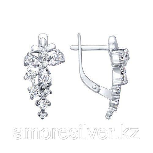 Серьги SOKOLOV серебро с родием, фианит  94020340