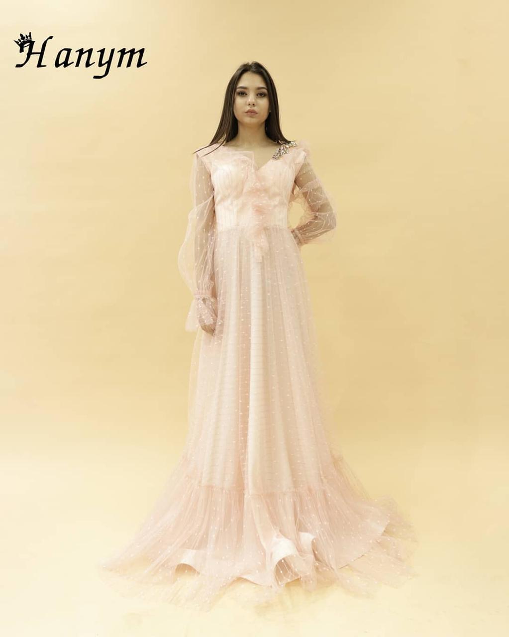 Вечернее платье пудровое (камень SWAROWSKI)