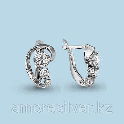 Серьги Aquamarine серебро с родием, фианит сваровски, геометрия 43642.5