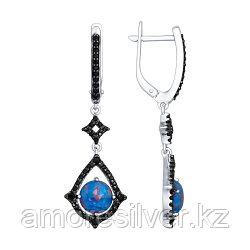 Серьги SOKOLOV серебро с родием, опал синт. фианит, модное 83020005