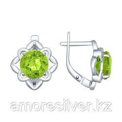 Серьги SOKOLOV серебро с родием, хризолит, цветы 92021394