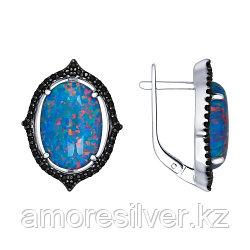 Серьги SOKOLOV серебро с родием, опал синт. фианит, модное 83020009