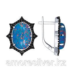 Серьги SOKOLOV серебро с родием, опал синт. фианит, модное 83020010