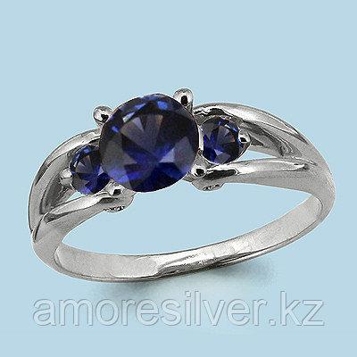 "Кольцо Aquamarine серебро с родием, нано сапфир, ""halo"" 63979Н.5"