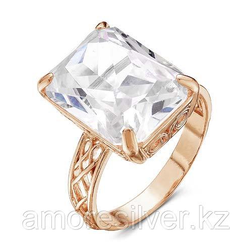 Кольцо Красная Пресня серебро с позолотой, фианит, квадрат 2388045