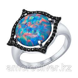Кольцо SOKOLOV серебро с родием, опал синт. фианит, модное 83010007
