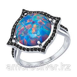 Кольцо SOKOLOV серебро с родием, опал синт. фианит, модное 83010002 размеры - 19