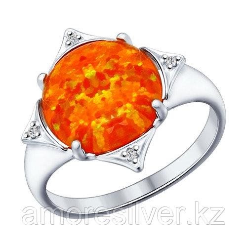Кольцо SOKOLOV серебро с родием, опал синт. фианит, круг 83010015