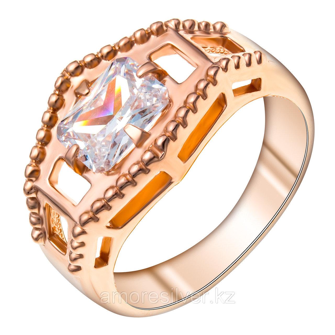 Кольцо Красная Пресня серебро с позолотой, фианит, геометрия 2388043