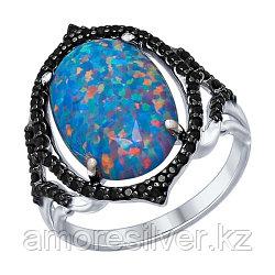 Кольцо SOKOLOV серебро с родием, опал синт. фианит, модное 83010003 размеры - 19,5