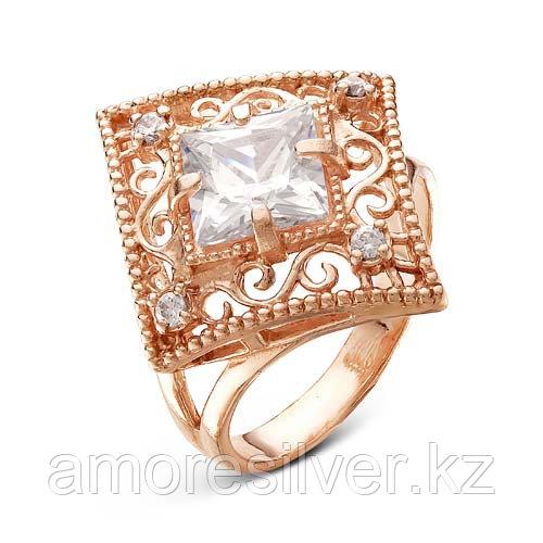 Кольцо Красная Пресня серебро с позолотой, фианит, квадрат 2387917