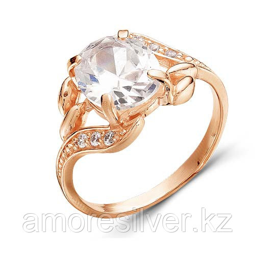 Кольцо Красная Пресня серебро с позолотой, фианит, круг 2387527 размеры - 17