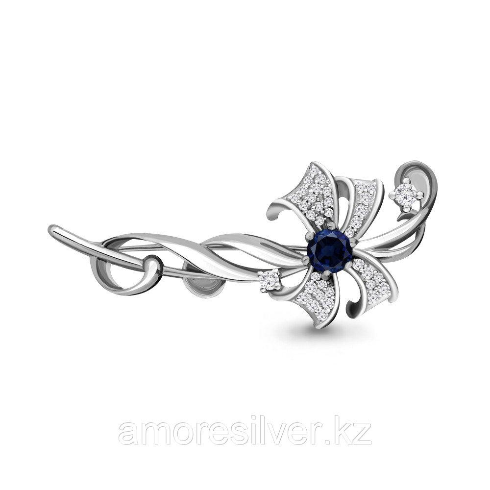 Брошь Aquamarine серебро с родием, флора 71508Б.5