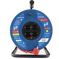 Силовой удлинитель на катушке Power Cube PC20502, 16 А/3,5 кВт,40 м, 4 розетки с/з, красно-синий