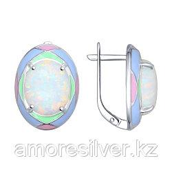 Серьги SOKOLOV серебро с родием, опал эмаль, абстракция 83020040