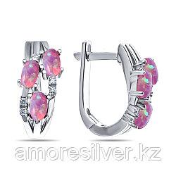 Серьги Teosa серебро с родием, опал розовый синт. фианит, модное F-MCC00207E-OPP