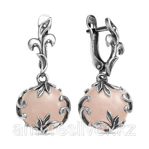 Серьги Красная Пресня , кварц розовый, флора 3338946К