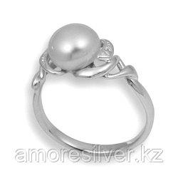 Кольцо  серебро с родием, жемчуг культ. фианит, ажурное 211056 размеры - 16,5