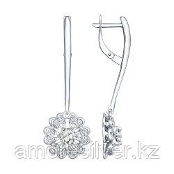 Серьги SOKOLOV серебро с родием, горный хрусталь фианит , флора 92021541