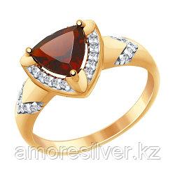 """Кольцо SOKOLOV серебро с позолотой, гранат фианит , """"halo"""" 92011456 размеры - 16,5"""