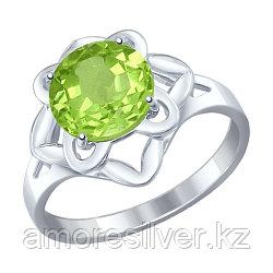Кольцо SOKOLOV серебро с родием, хризолит, цветы 92011238 размеры - 17
