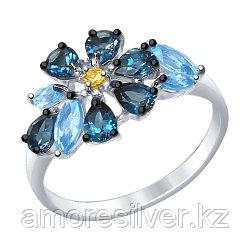 Кольцо SOKOLOV серебро с родием, топаз фианит, флора 92011403 размеры - 17