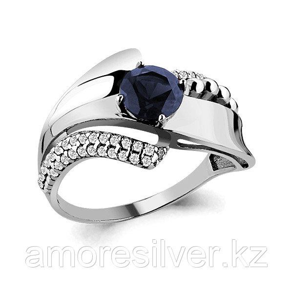 """Кольцо Aquamarine серебро с родием, нано сапфир фианит, """"halo"""" 64838Б.5"""