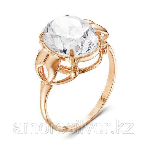 Кольцо Красная Пресня серебро с позолотой, фианит, круг 2388313