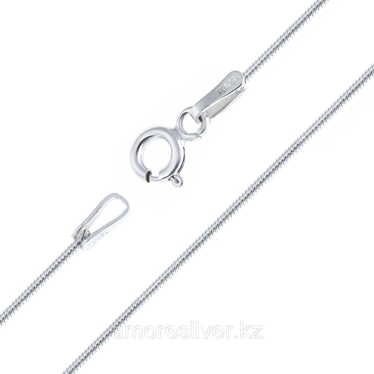 Цепь Teosa серебро с родием, без вставок, снейк круглый GROT-030-50 размеры - 50
