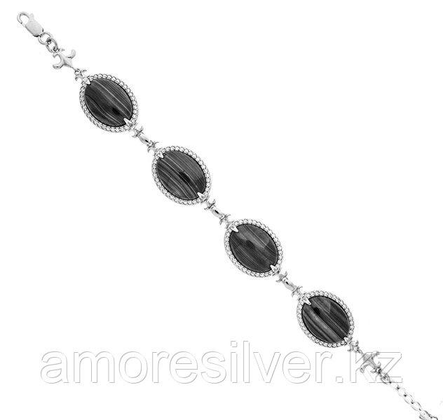 Браслет Приволжский Ювелир серебро с родием, лунный камень фианит, овал 631214